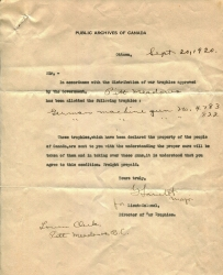 A letter from the government from Sept 1920