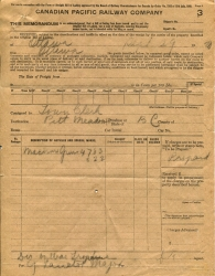 A shipping slip showing the shipment of machine guns to Pit Meadows in 1920