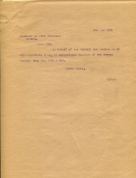 A letter of acknowledgement from the Director of war trophies Nov 1920