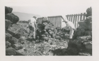 Two people working at the Alouette Peat Farm c.1940s