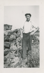 A man working at the Alouette Peat Farm c.1940s