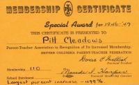 Pitt Meadows Parent-Teacher Association Membership BC Certificate Award
