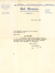 A letter from Hal menzies Real Estate and Insurance to Pitt Meadows Volunteer Fire Brigade