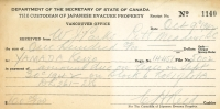 Reciept for the purchase of Japanese Canadian Evacuee property