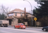 A colour image shot in the fall of 1997 and showing the front of the building as shot from the west side of Harris Road just to the south of the building. Shot on first visit to the site after the purchase in the fall of 1997.