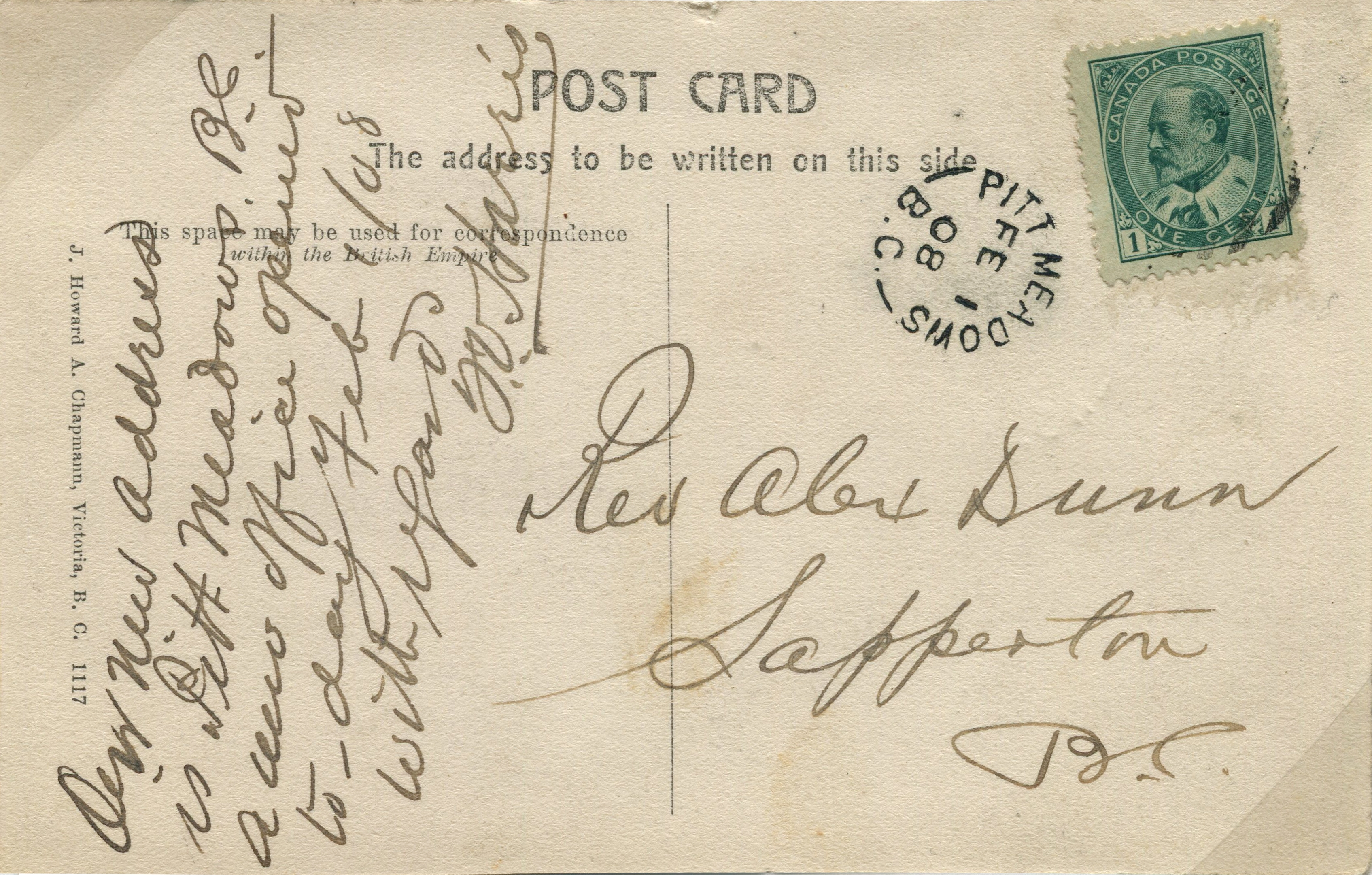 Pitt Meadows Post Card stamped 1908